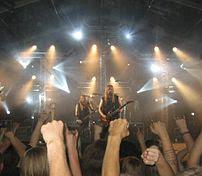 Estonian heavy metal group Metsatöll performin...