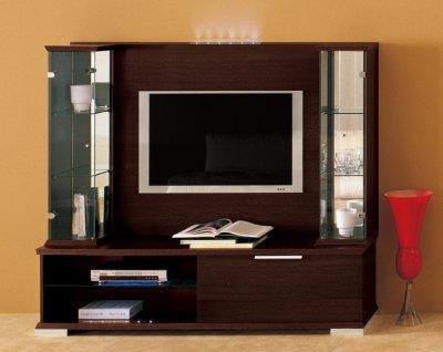 Dark Brown Finish Modern Stylish Wall Unit | Furniture Clue