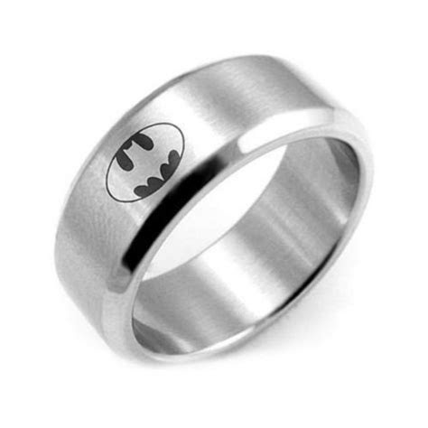 8MM Polished Silver Batman Ring Stainless Steel Men Ring