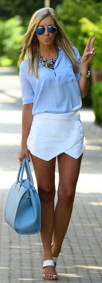 White & Blue Street Fashion