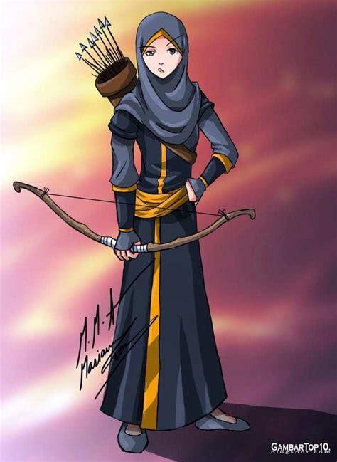 gambar wallpaper kartun keren gambar muslimah bawa panah