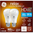GE Lighting 36835 Light Bulb Relax HD Dimmable LED A19 10.5 (60-Watt Replacement), 800-Lumen Medium Base, 2-Pack, Soft White, 2