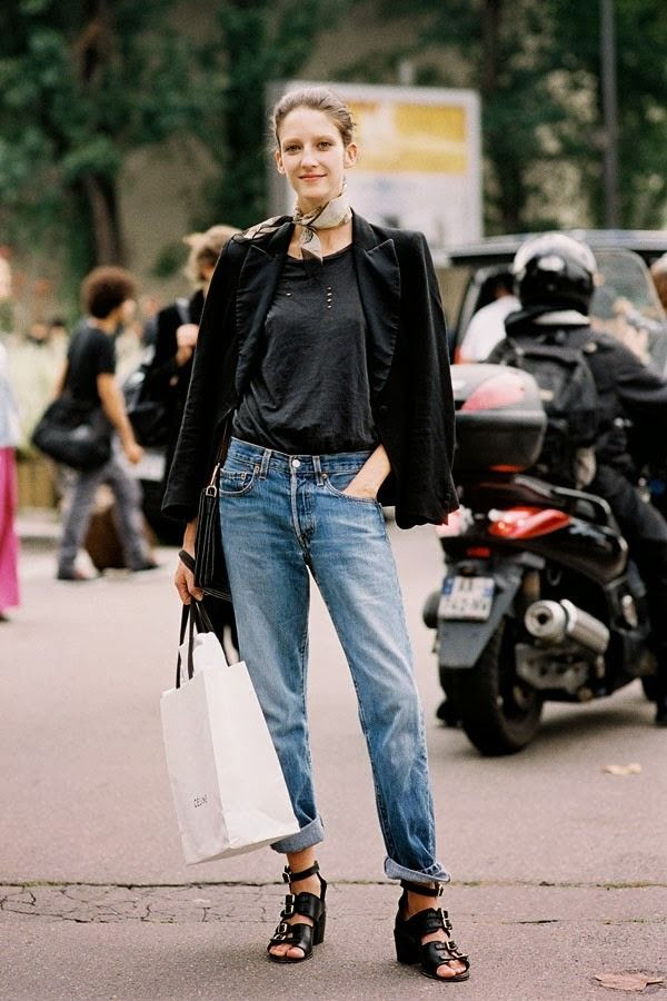 Le Fashion Blog  Laid Back Way To Wear A Neck Scarf Christina Herrmann Street Style Tuxedo Blazer Distressed Tee Boyfriend Jeans Buckled Wedge Sandals Via Vanessa Jackman