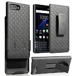 BlackBerry Key2 LE Case with Clip, Nakedcellphone [Black Tread] Kickstand Cover with Belt Hip Holster Combo for BlackBerry Key2 LE Phone