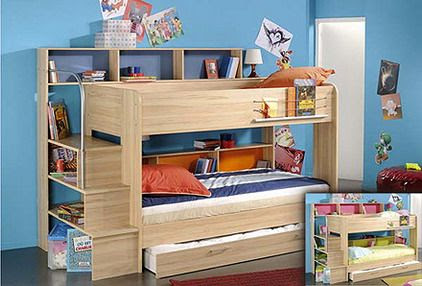 Blue Colors and Wood Kids Bunk Beds with Stairs and Slide ... | kid s…