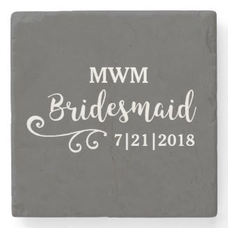 Bridesmaid Wedding Favor Name or Monogram Script Stone Coaster