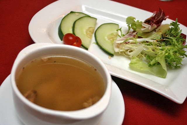 Mixed mushroom and walnut soup, organic vegetable salad