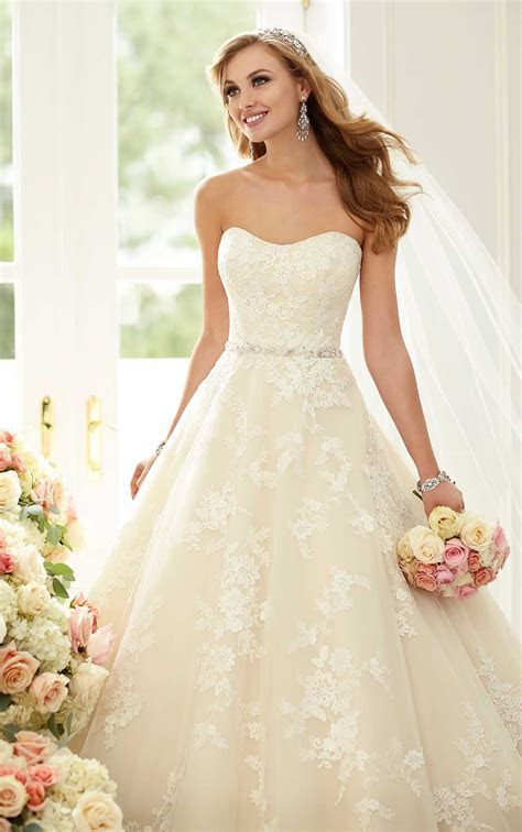 Wedding Dresses   Lace Ball Gown with Sparkly Belt