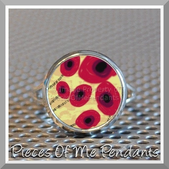 Pieces Of Me Adjustable Ring ...... RED POPPIES or CHOOSE YOUR DESIGN