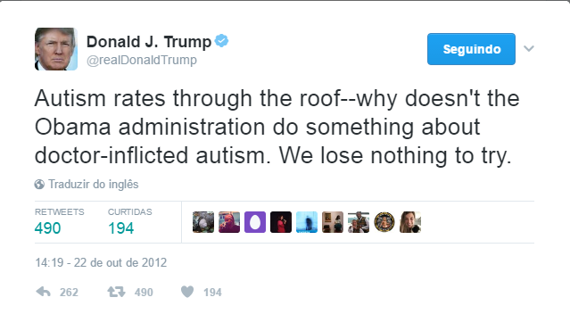Donald Trump tweeta sobre autismo