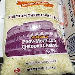 Supremo Italiano Premium Three Cheese Blend Shredded Prov-Mozz and Cheddar Cheese 5lbs