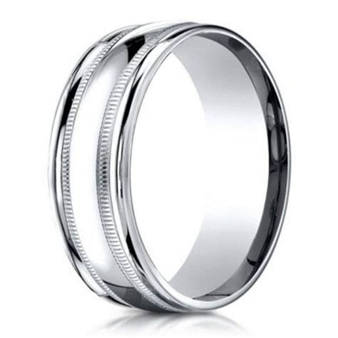 Benchmark Men's Wedding Ring in 950 Platinum with Milgrain