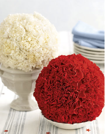 4th of July Ideas - 4th of July Carnation Balls from Country Living