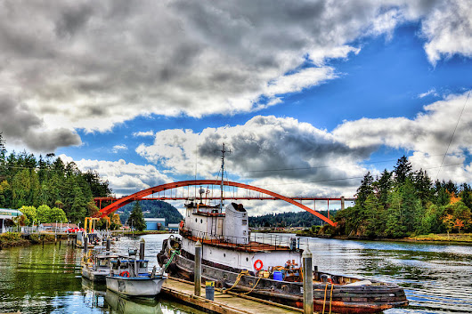 The Rainbow Bridge - Laconner Washington by David Patterson