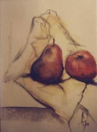 still life - pear + apple