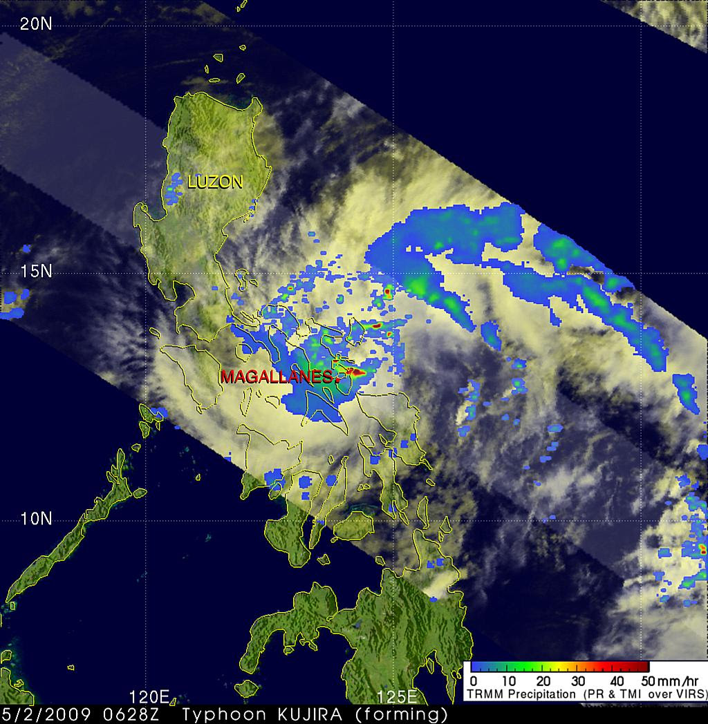 Satellite view of typhoon (Kujira) Dante in the Philippines