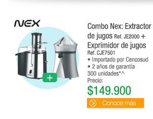 Combo Nex: Extractorde jugos Ref. JE2000 + Exprimidor de jugos Ref. CJE7501 - • Importado por Cencosud • 2 años de garantía 300 unidades* - Antes: $$203.800 PRECIO: $149.900