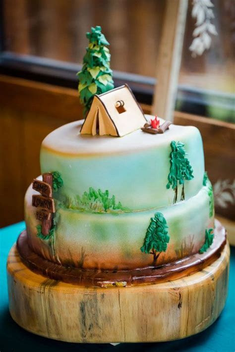 Love this cake from a camping themed wedding in Colorado
