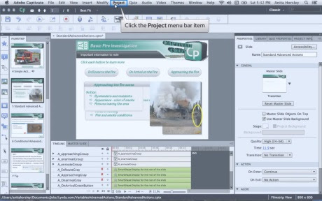 Adobe Captivate is an industry-leading rapid responsive authoring tool for creating highly interactive eLearning content. With this tool, one can capture the on-screen action, enhance eLearning projects and publish work in various formats such as Adobe Flash and HTML5 for PC, Mac, Web and Mobile devices.