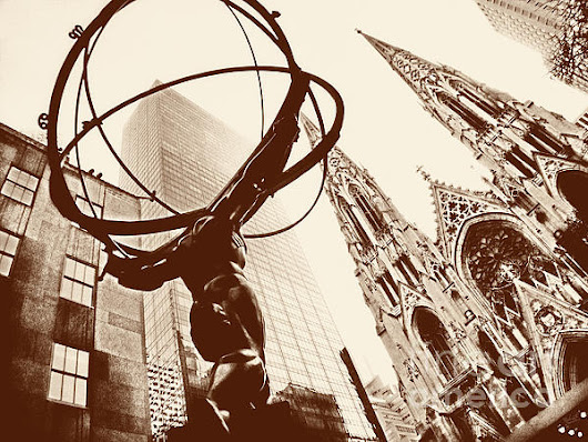 Atlas Statue And St.patrick's Cathedral In Black And White by Nishanth Gopinathan