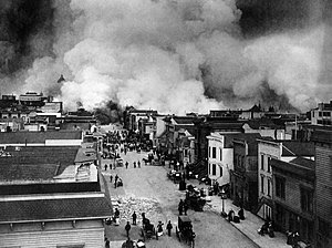 English: San Francisco Mission District burnin...