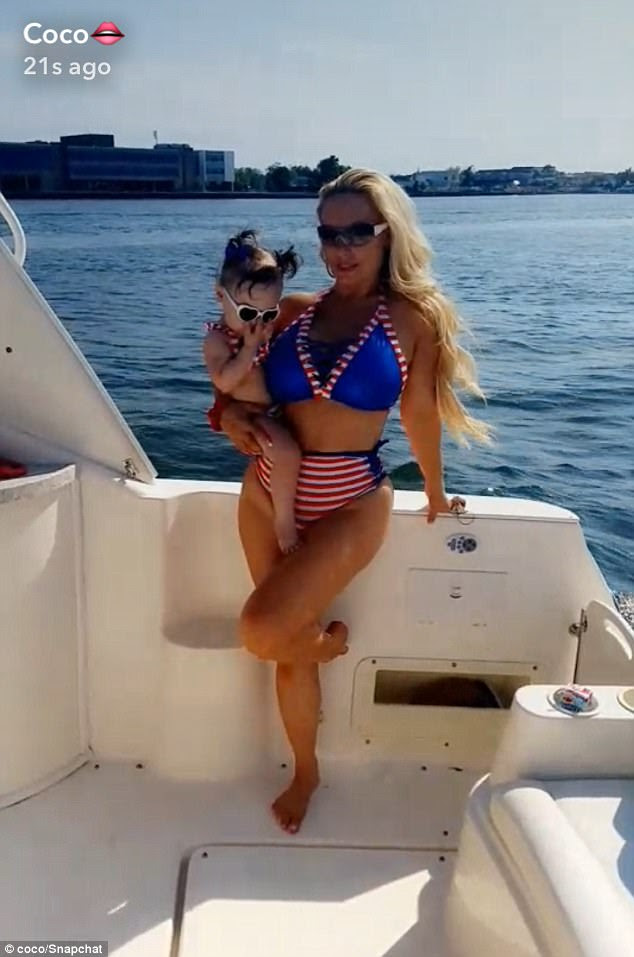 By the sea:Coco Austin took to the water for the July 4 long weekend, alongside her one-year-old daughter, Chanel