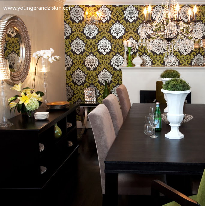 Wallpapered Accent wall - Contemporary - dining room - SVZ ...