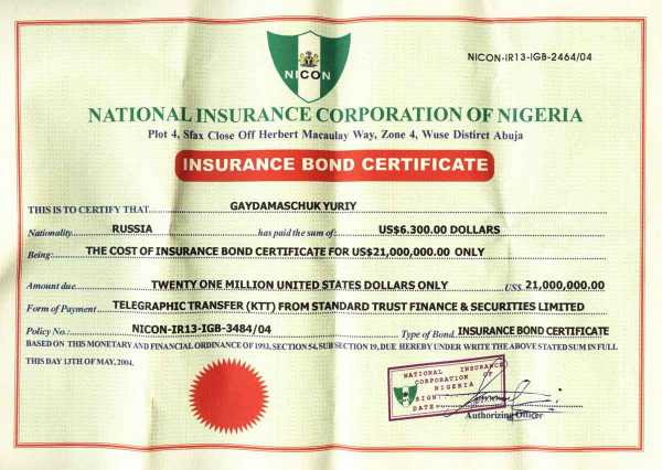 Fake Insurance Bond Certificate