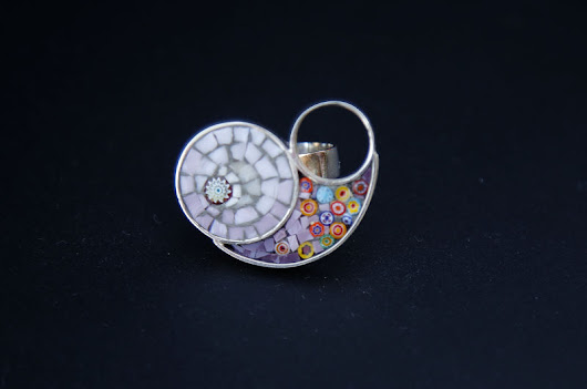 Millefiori SILVER & GLASS MOSAIC RING