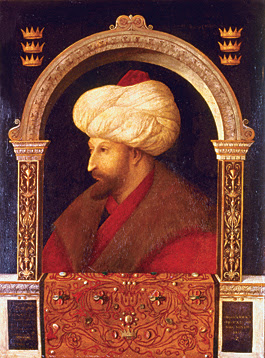 In 1479, at the request of Ottoman sultan Mehmet II, Venice sent one of its most prominent painters, Gentile Bellini, to Constantinople for nearly two years to paint portraits of the sultan. Widely reproduced, these became both stylistically influential and iconic. (Orhan Pamuk's novel My Name is Red deals with the upheaval western painting caused in court circles.)