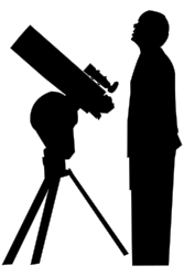 Amateur Astronomer by SunKing2 - Amateur Astronomer looks at night sky beside his telescope.  Silhouette.  Original was a photograph at Wikimedia.org http://commons.wikimedia.org/wiki/File:Astronomy_Amateur_3_V2.jpg created by user Halfblue.