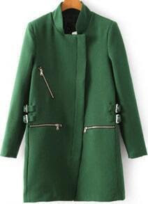 Zipper Cuff  Woolen Coat