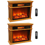 LifeSmart LifePro 3 Element Portable Electric Infrared Fireplace Heaters (Pair) by VM Express