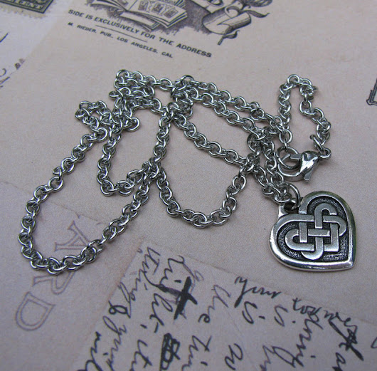 Celtic Heart Chain Necklace, Silver Romantic Necklace