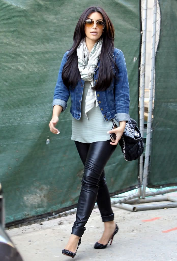 i'd rock: pleather jeggings (f21).  long tank (?).  jean jacket (costco).  any scarf.