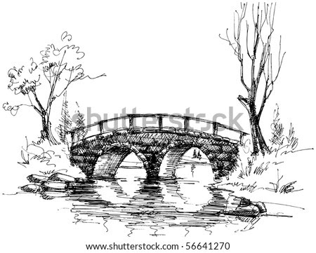 stock vector : Stone bridge over river sketch