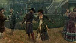 Assassin's Creed: Aveline con Vázquez (como dama) en el baile organizado por el gobernador