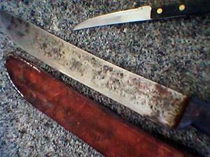 Facão usado pelo suspeito e uma faca de cozinha foram apreendidos pela policia (Foto: Jair Sampaio/G1)