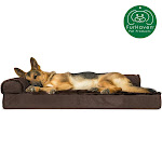 FurHaven Pet Dog Bed   Deluxe Orthopedic Plush & Velvet L-Shaped Chaise Couch Pet Bed For Dogs & Cats (Sable Brown, Jumbo)