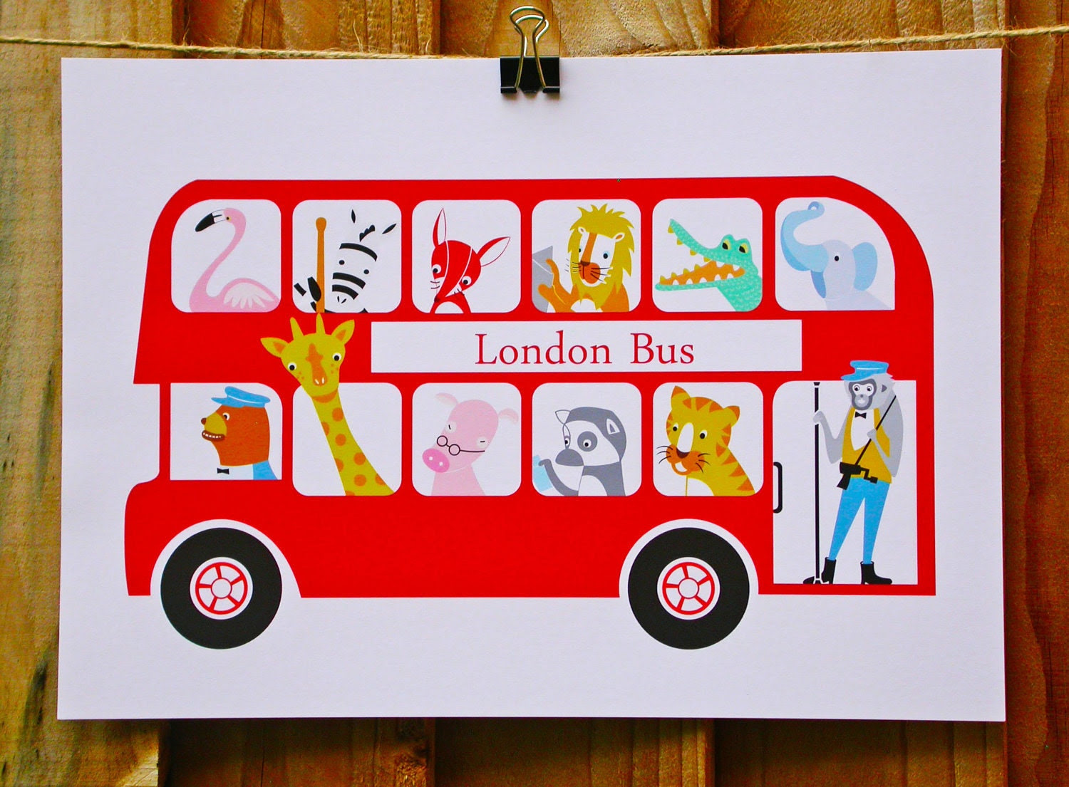 Animal art print, A4 London bus giclee art print, Kids Wall Art.