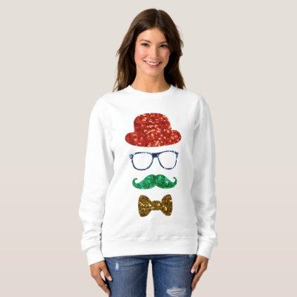 christmas hipster mustache womens sweatshirt