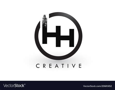 hh brush letter logo design creative brushed vector image