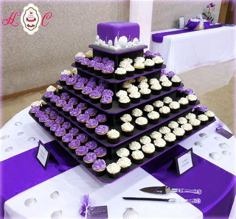 purple white wedding   Purple & White Wedding Cupcake