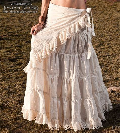 LONG HEMP SKIRT   Hippie Boho Wedding Bride Faery Fairy