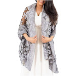 Zodaca Fashion Women Ladies Lightweight Burnout Lace Scarf Wrap Beach Shawl for Women - Silver
