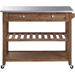 Sonoma Kitchen Cart with Stainless Steel Top [Barnwood Wire-Brush]