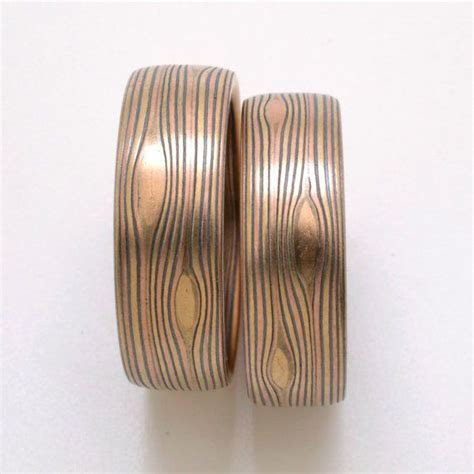 Mokume Gane Wedding Band Set in Flow Pattern and Fire