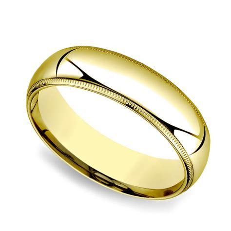 Milgrain Comfort Fit Men's Wedding Band in Yellow Gold (6mm)