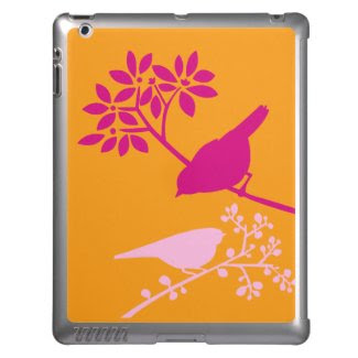 Two Little Birds {Orange and Pink} iPad Case
