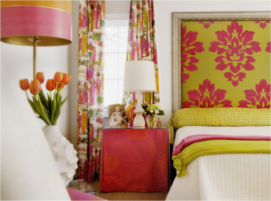 chartreuse and gray walls; lime green and fuchsia color ...